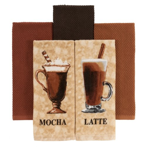 Mainstays Kitchen Towels, Mocha, 5-Pack