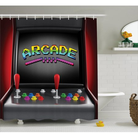 Video Games Shower Curtain, Arcade Machine Retro Gaming Fun Joystick Buttons Vintage 80's 90's Electronic, Fabric Bathroom Set with Hooks, Multicolor, by Ambesonne ()
