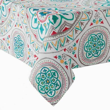 Medallion Print Zippered Umbrella Tablecloth Polyester Fabric (60 x 84 Rectangle Umbrella)