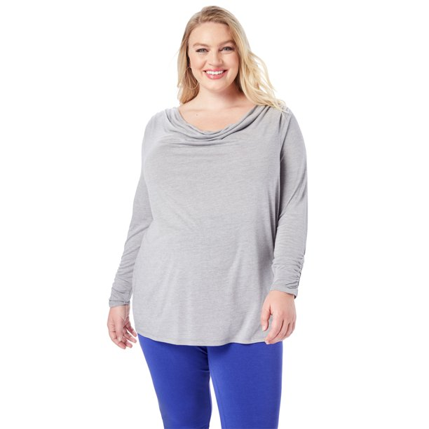 Roaman's Plus Size Ruched Drape Tee T-Shirt