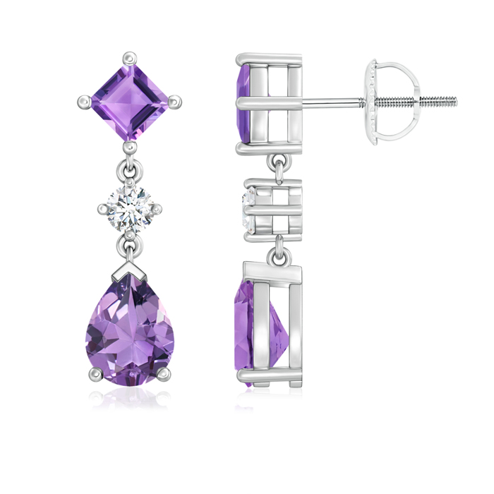Angara Square and Pear Amethyst Drop Earrings with Diamond 6CyTBXr