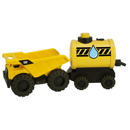 Caterpillar Tough Tracks Trailer Team - Dump Truck pulling Water Sprayer