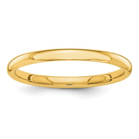 14k Yellow Gold 2mm Wedding Ring Band Size 8.00 Classic Domed