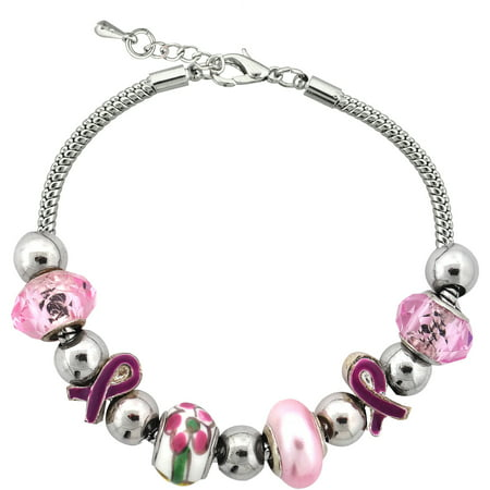 - Silvertone Pink BC Bow Charm and Glass Beads Bracelet with Extender, 7.5