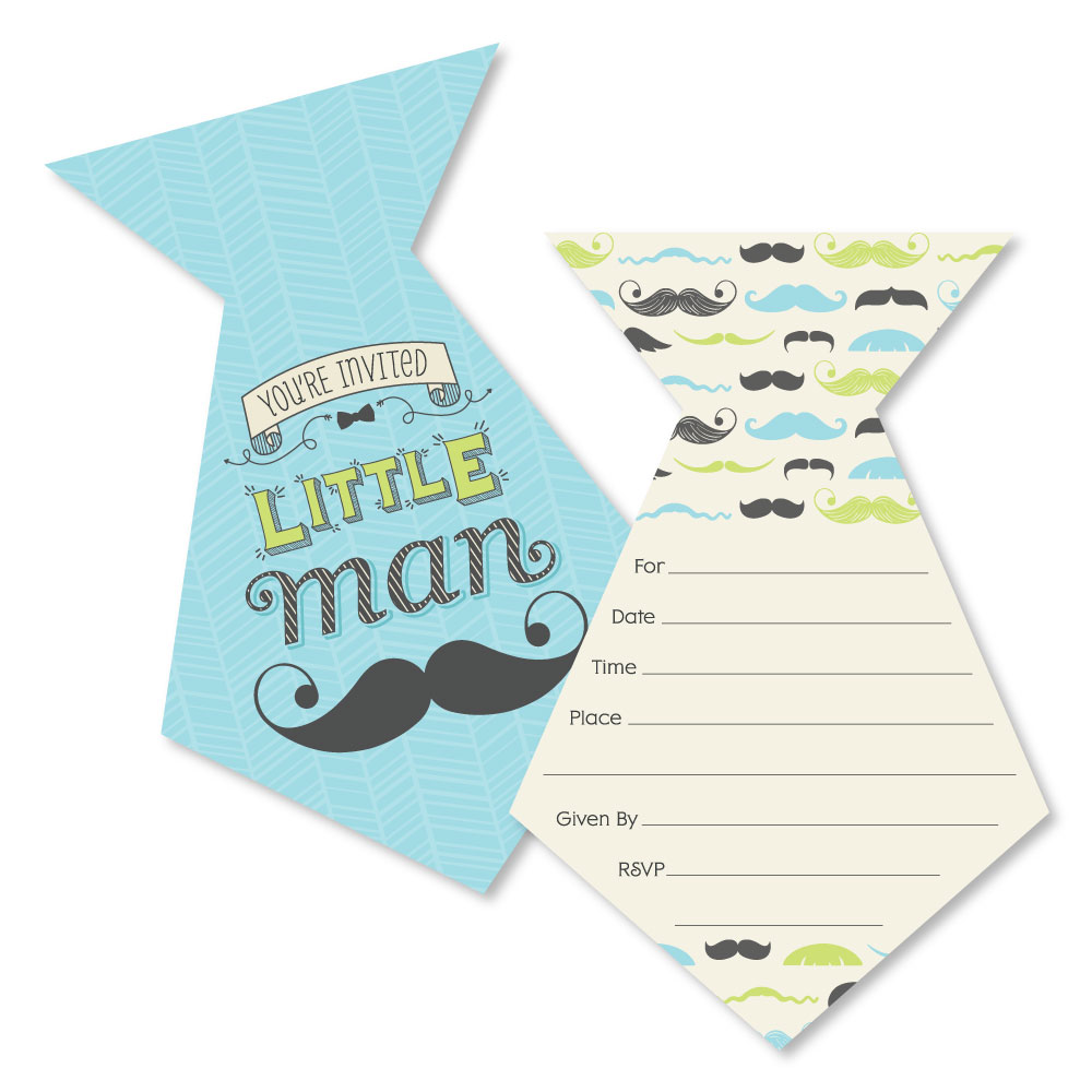 Dashing Little Man Mustache Party - Shaped Fill-In Invitations - Baby Shower or Birthday Party Invitations - Set of 12