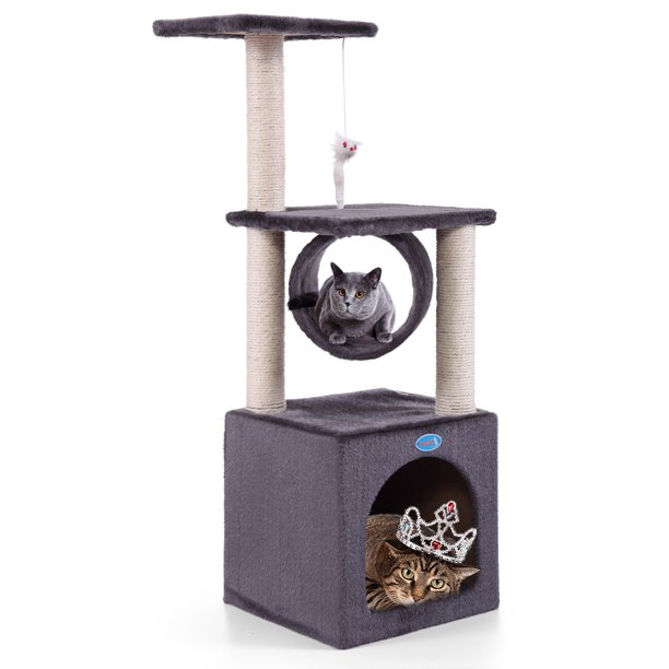 Jaxpety 36-in Cat Tree & Condo Scratching Post Tower, Gray