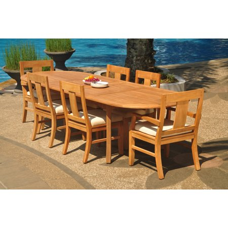 Grade A Teak Dining Set 6 Seater 7 Pc 118 Double Extension Oval Table And Osborne Chairs 2 Arm 4 Armless Wholeteak Wmdswvm