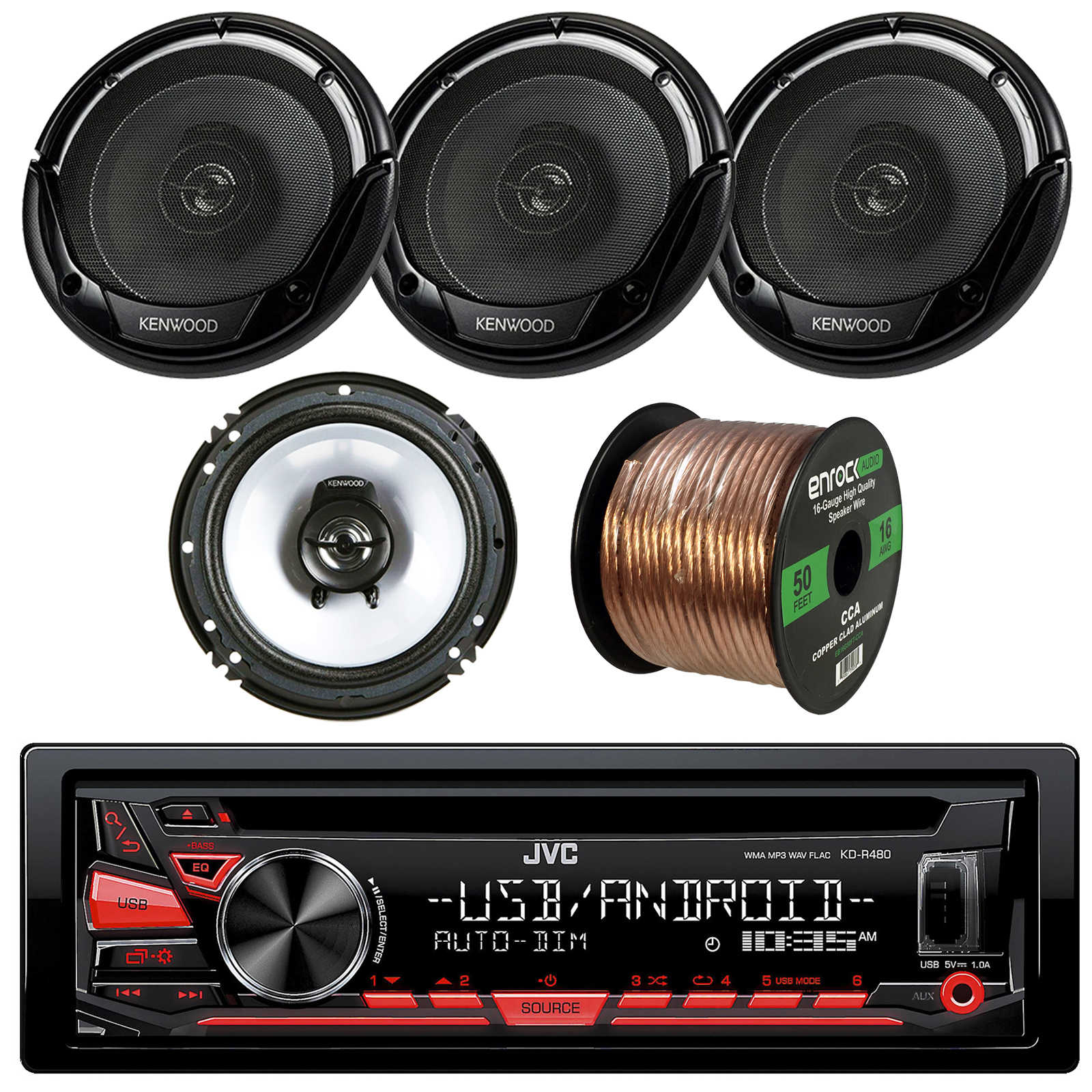 "JVC KD-R480 Single DIN CD/AM/FM/USB/AUX Car Receiver + 2 x Kenwood KFC-1665S 6 1/2"" 2-Way Car Speakers (2 pairs) + Enrock Audio 16-Gauge 50Ft Speaker Wire"