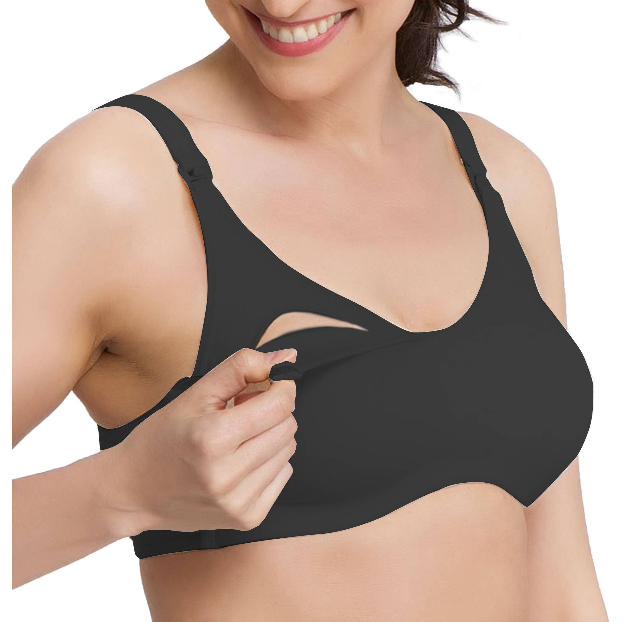 Q-T Intimates Maternity Wireless Cotton Blend Nursing Bra--Up To 44DDD