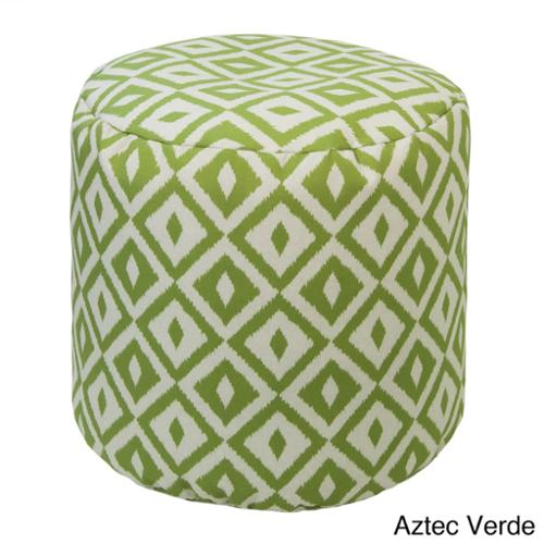 Outdoor/ Indoor Weather Resistant Bean Bag Ottoman Aztec Verde