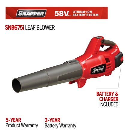 Snapper 58-Volt Cordless 675 CFM 130 MPH Handheld Leaf Blower (Battery Included)