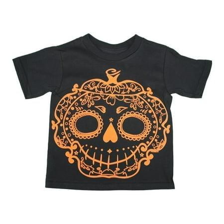 Little Girls Black Pumpkin Sugar Skull Halloween Cotton - Sugar Skull Girl Halloween