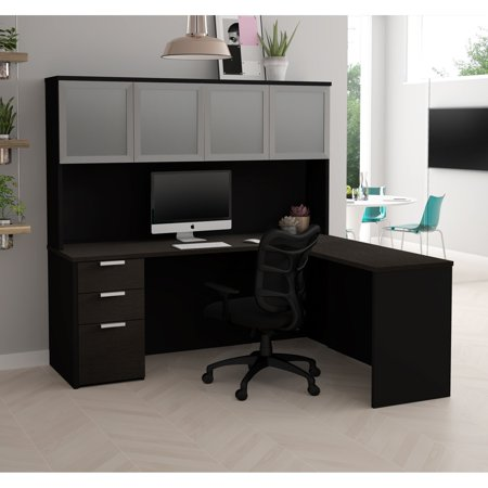 Premium Plus Hutch - Pro-Concept Plus L-Desk with Frosted Glass Door Hutch in Deep Grey & Black