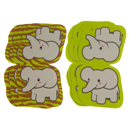 Baby Elephant Cut Out (Elephant Safari Animal Paper Cut Outs, Green, 4-7/8-Inch,)