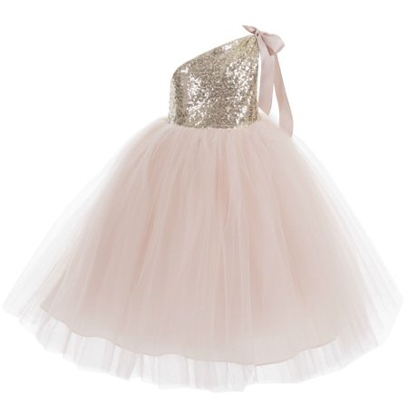 Ekidsbridal One-Shoulder Sequins Tutu Flower Girl Dress Junior Bridesmaid Dress Pageant Gown Princess Dresses Special Occasion Dresses Toddler Girl Dresses Evening Gown Christening Dresses 182 (Little Black Sequin Dress)
