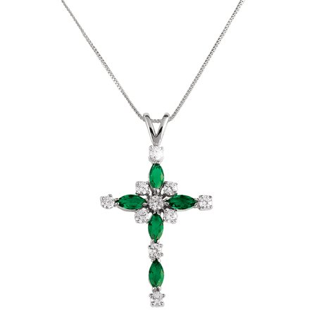 Women's Emerald Crystal Cross Silver Plated Pendant Necklace with Gift Box ()