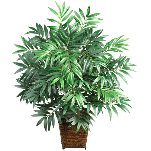 Bamboo Palm with Wicker Basket Silk Plant
