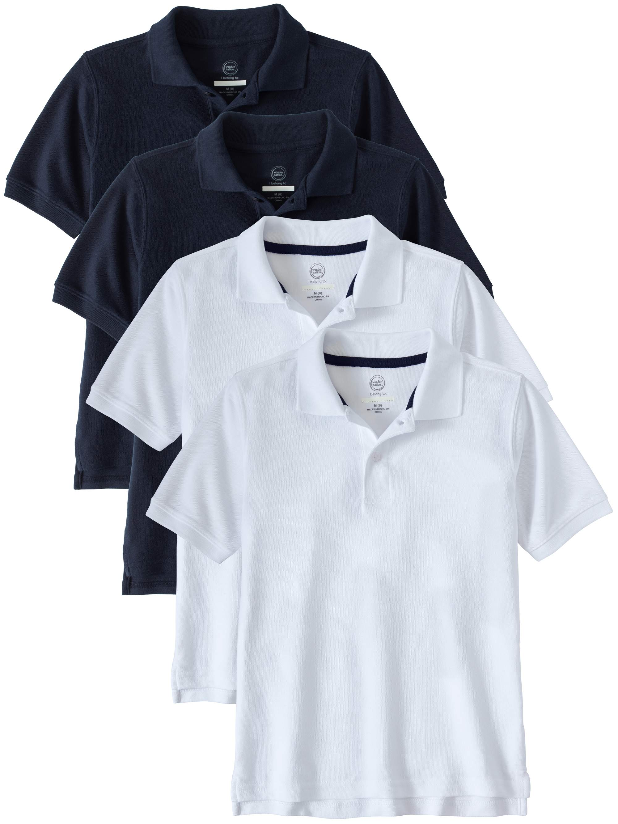 Boys School Uniform Short Sleeve Double Pique Polo, 4-Pack Value Bundle