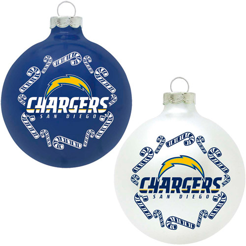 Topperscot NFL San Diego Chargers Home and Away Glass Ornament Set, Set of 2