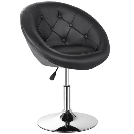 Gymax PU Leather Adjustable Modern Chair Swivel Round Tufted Back Black - image 10 de 10