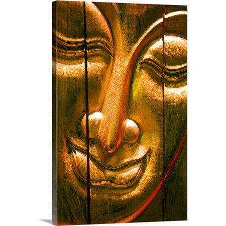 Great BIG Canvas | Ray Laskowitz Premium Thick-Wrap Canvas entitled Hong Kong, Central, Wooden Buddha Face