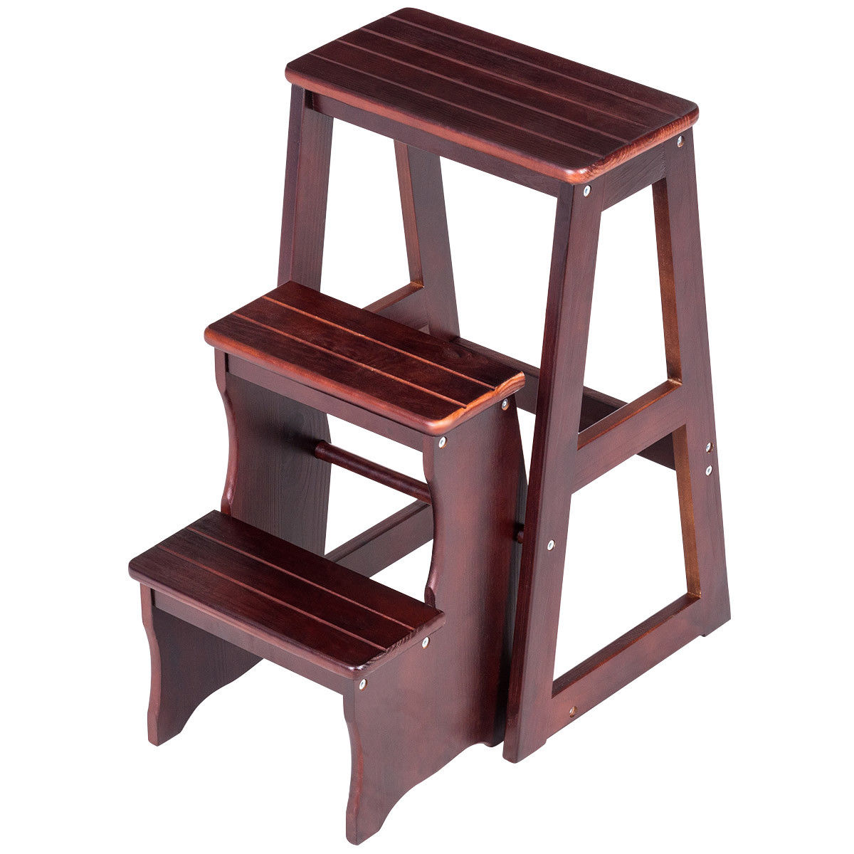 Gymax 3 Tier Folding Wood Step Stool Ladder Chair Bench