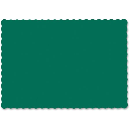 Hoffmaster, HFM310528, Scalloped Edge Paper Placemat, 100 / Carton, Hunter Green