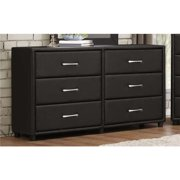 Benzara BM179895 32.25 x 16 x 56.25 in. 6 Drawer Dresser, Wood & PVC - Black