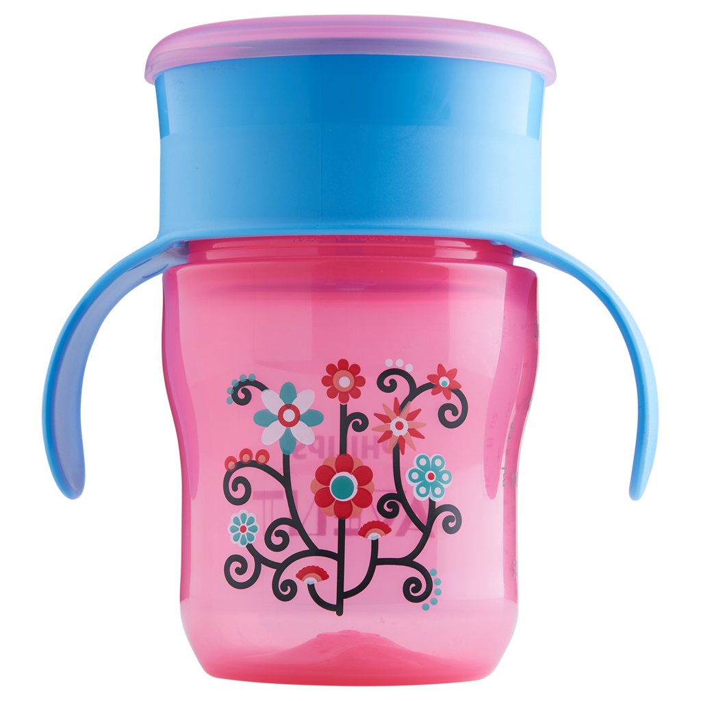 Philips Avent My First Big Kid Cup Pink Blue 9m+ 360 degree BPA Free 9 oz by