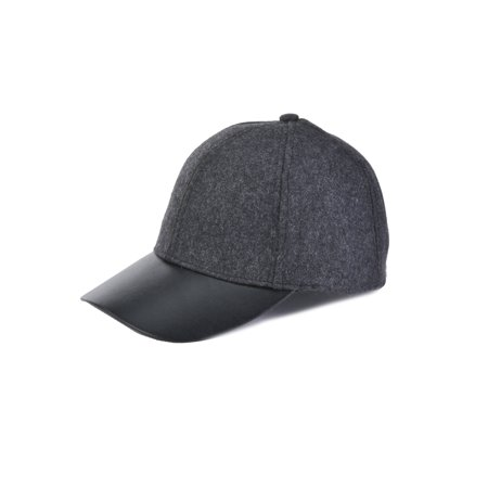 Top Headwear Wool Crown w/ PU Peak Baseball Cap