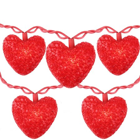 set of 10 valentines day heart holiday lights red wire