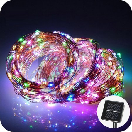 32.8ft 100 LEDs Outdoor Solar String Lights Waterproof Copper String Lights for Christmas Tree Garden Patio Party Wedding Holiday Decor ()