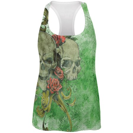 St. Patricks Day Deadly Wild Irish Rose Skull Tattoo All Over Womens Work Out Tank Top (Ireland Tank Top)