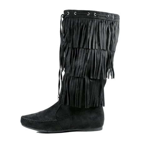 Fringed Womens Boots (Womens Mid Calf Flat Fringe Boots 3 Tier Layer New Size Faux Suede Moccasin )