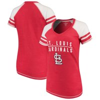 St. Louis Cardinals Soft as a Grape Women's Color Block V-Neck T-Shirt - Red