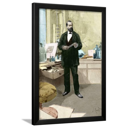 Engraving of Robert Koch in His Laboratory Framed Print Wall Art By Stefano Bianchetti ()