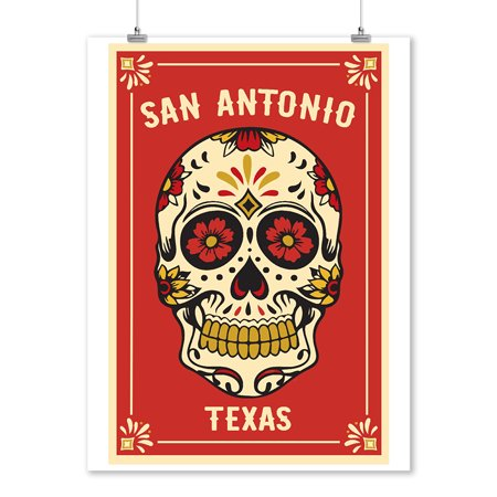 San Antonio, Texas - Day of the Dead - Sugar Skull & Flower Pattern - Lantern Press Artwork (9x12 Art Print, Wall Decor Travel - Dead Flower