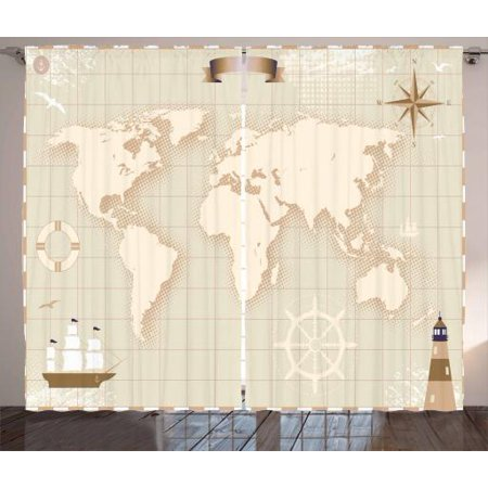 World Map Curtains 2 Panels Set, Old World Map with Windrose Lighthouse Lifebuoy Yacht and Continents, Window Drapes for Living Room Bedroom, 108W X 63L Inches, Eggshell Tan Beige, by (Living World Egg Biscuit)