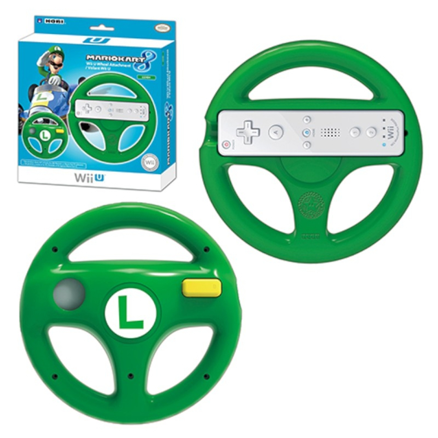 Hori Luigi Racing Wheel Mario Kart 8 Controller For Nintendo Wii U