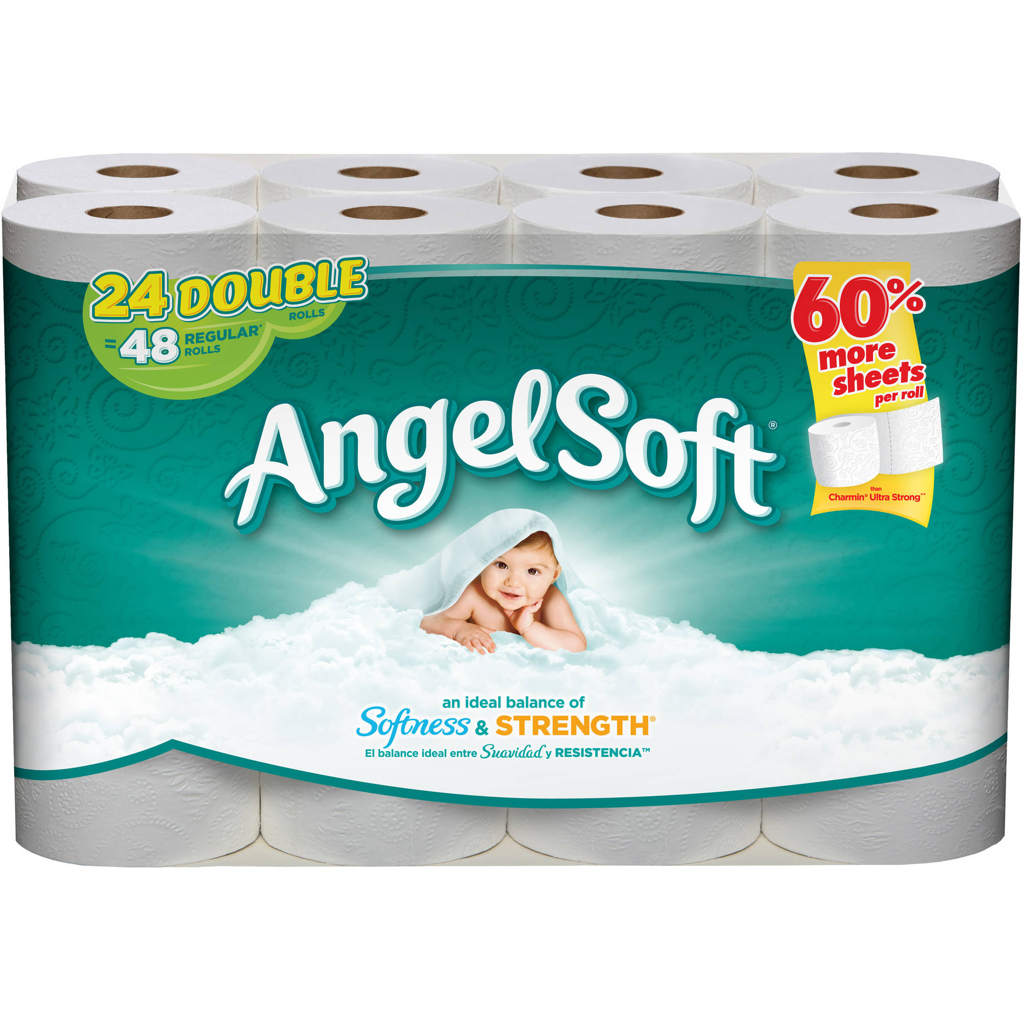 Angel Soft Toilet Paper, 24 Double Rolls, Bath Tissue