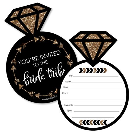Bride Tribe - Shaped Fill-In Invitations - Bridal Shower or Bachelorette Party Invitation Cards with Envelopes - 12 Ct (Bridal Shower Cards)