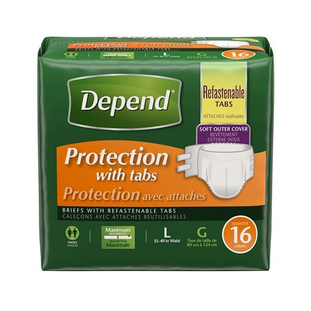 Depend Protection Briefs with Tabs, 16 Count (Protection Plus Classic Briefs)