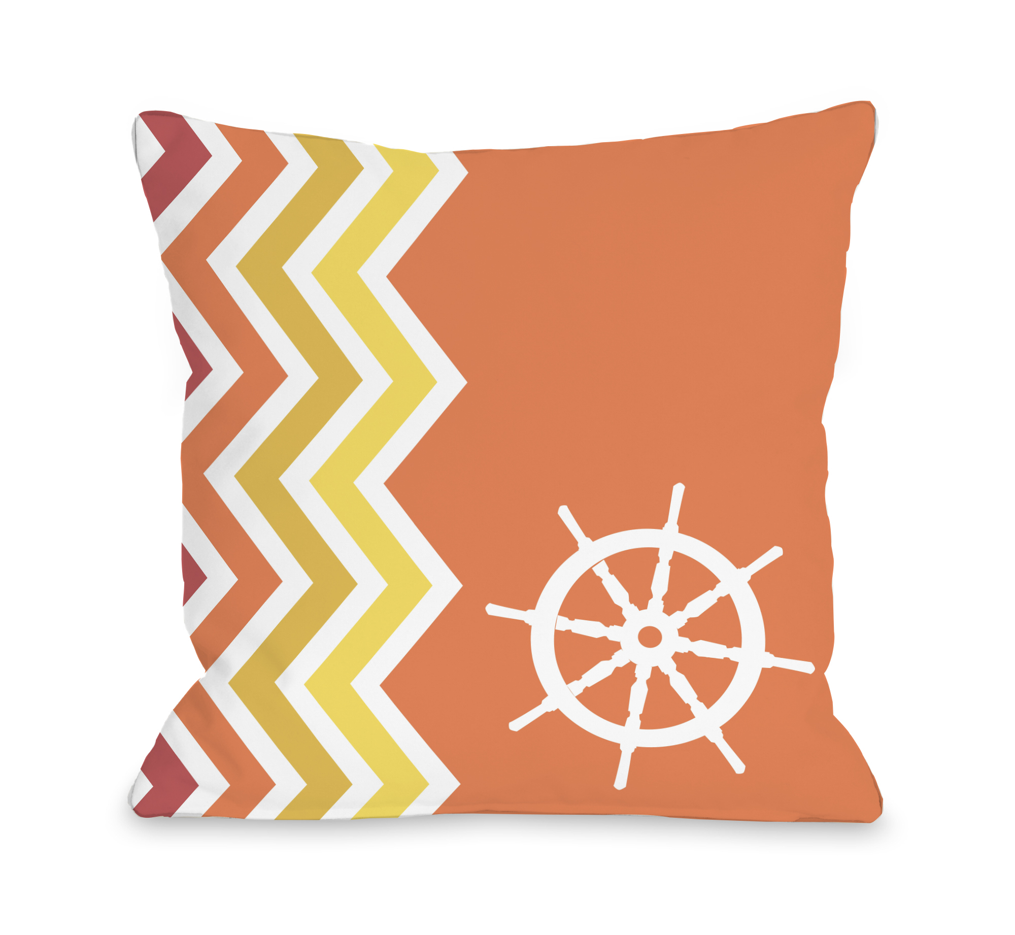 Chevron Wheel - Orange 18x18 Pillow by OBC