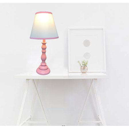 Juvenile Table Lamp Matching Base and Shade, Pink (with CFL Bulb). Match room color; Great for kids' room lighting; Product Size: Measures w:10.5