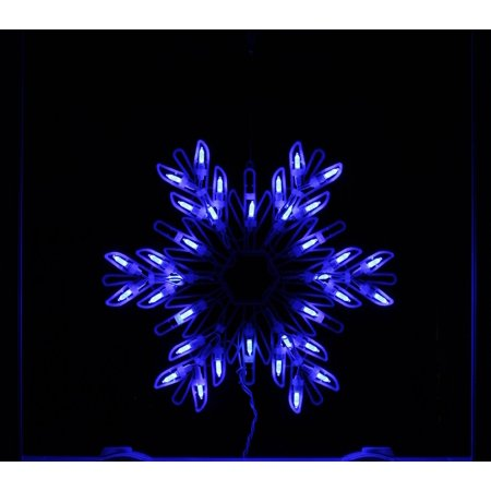 15 Quot Blue Led Lighted Snowflake Christmas Window Silhouette