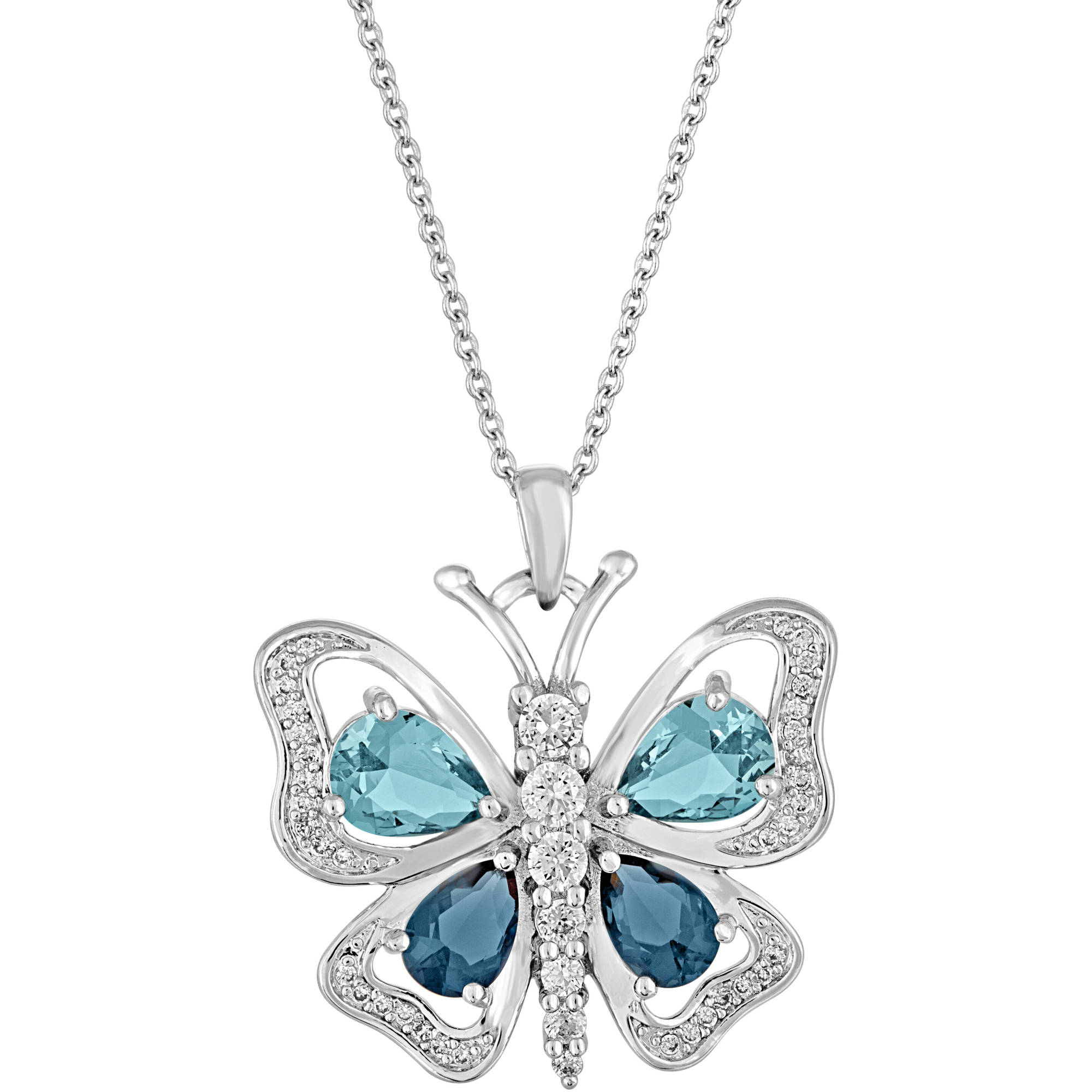 Gemspirations Sterling Silver Plated Simulated Blue Topaz with CZ Accents Butterfly Pendant, 18""