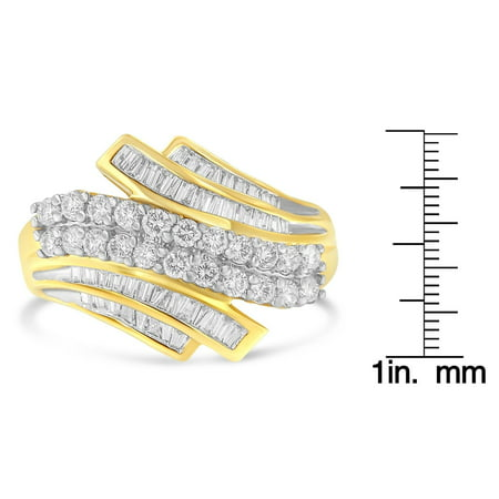 10k Yellow Gold 1.00ct TDW Prong Set Diamond Bypass Ring (H-I,SI1-SI2)