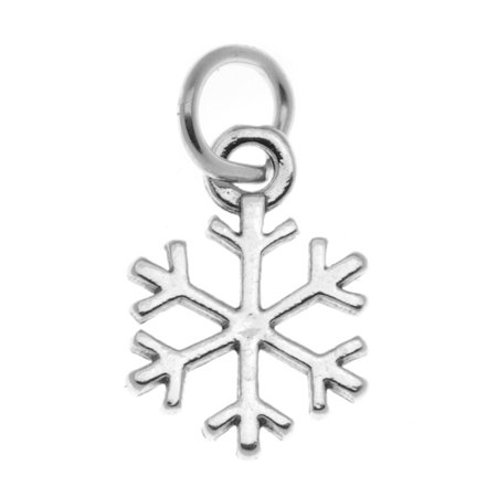 Sterling Silver Antiqued Snowflake Charm Winter Christmas (10 Snowflake Charms)