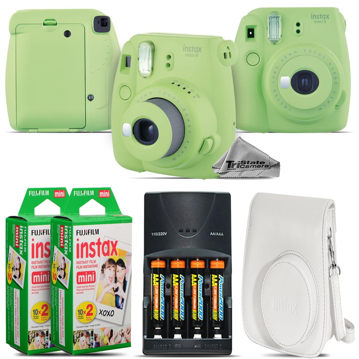 FujiFilm mini 9 Camera (Lime Green) + 4 Batteries + White Case 40 Films Kit by Tri State Camera