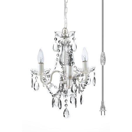 The Original Gypsy Color 3 Light Mini Plug-in Crystal Chandelier for H16